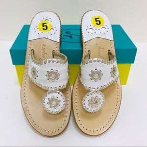 Jack Rogers Palm Beach White Platinum Sandals